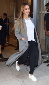 top,pants,coat,fall outfits,sneakers,jessica alba,streetstyle,nyfw 2017,ny fashion week 2017,fashion week