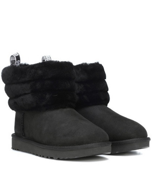 Ugg Fluff Mini Quilted suede ankle boots in black