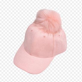 hat cap pink suede pom pom cap
