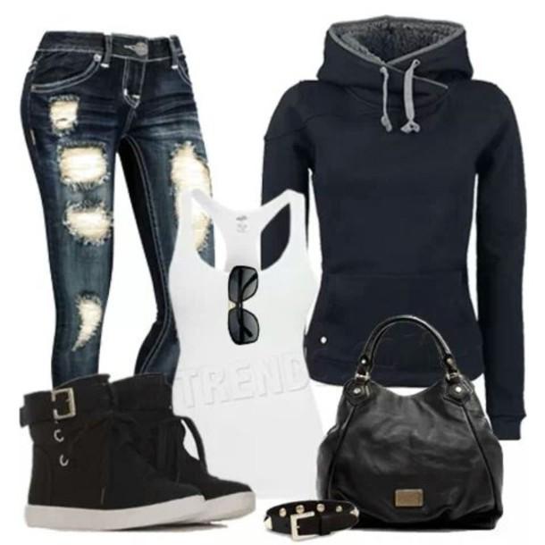 jeans sweater shoes bag jewels sunglasses shirt