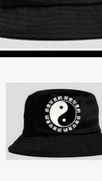 hat black yin yang bucket hats