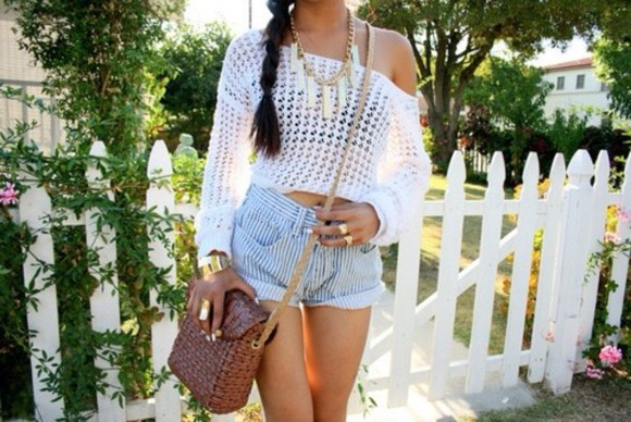 sweater white sweater striped shorts bag