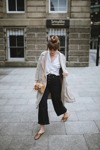 shirt tumblr white shirt coat trench coat pants denim jeans denim culottes culottes shoes mules bag