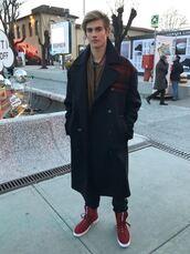coat,sneakers,presley gerber,model,winter outfits,menswear,mens jacket