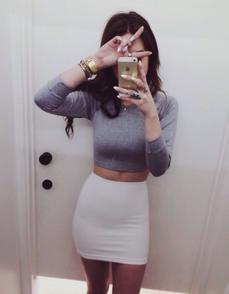 gray crop shirt iphone long sleeve crop top grey crop top gray crop top white skirt tumblr outfit skirt top