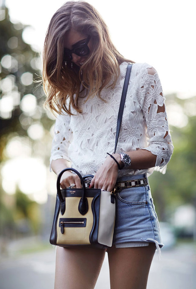 White Half Sleeve Floral Crochet Blouse - Sheinside.com