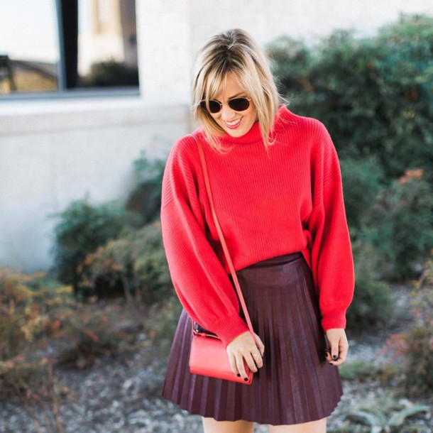 Sweater: tumblr, red sweater, bag, red bag, sunglasses, round ...