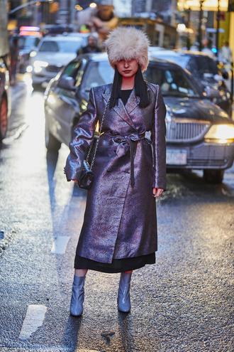 coat blue boots tumblr silver metallic bag nyfw 2017 fashion week 2017 fashion week streetstyle boots patent shoes patent boots black bag chain bag hat fur hat white fur hat