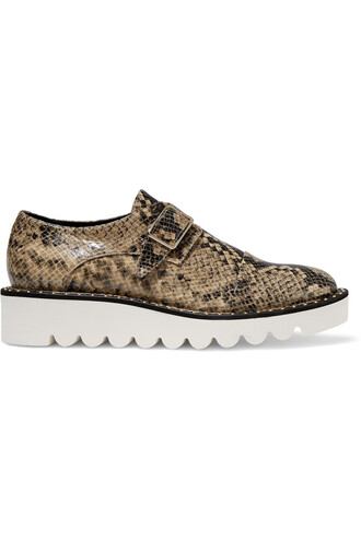 snake leather brown beige shoes