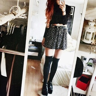 skirt black white belt black skirt white skirt skater skirt mini skirt grunge top jacket knee high socks knee tights shoes grunge shoes tumblr grunge skirt