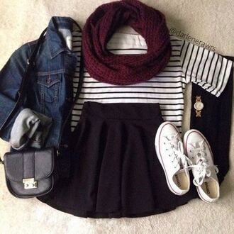 top shoes skirt bag scarf watch hot cute autumn outfit spring outfits wanted