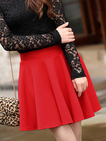 skirt short skirt banggood high waist red
