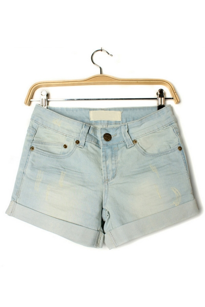 Chic Roll Trim Denim Shorts - OASAP.com