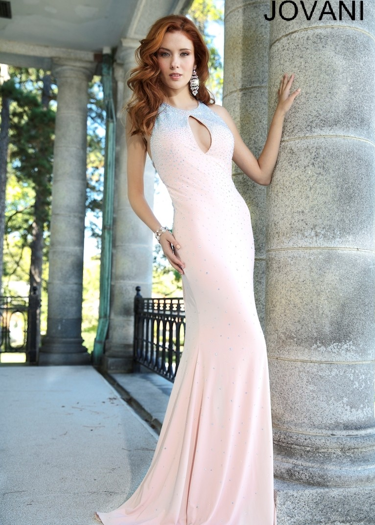Blush fitted beaded jersey dress
