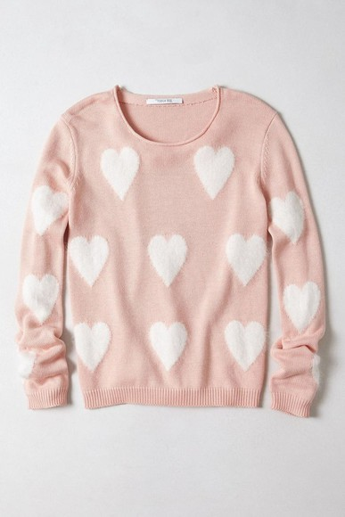 hearts sweater pink blouse