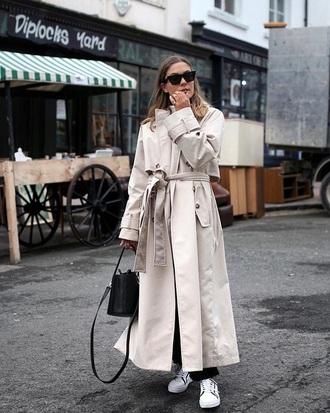 coat white coat long coat trench coat oversized oversized coat white sneakers low top sneakers sneakers bag