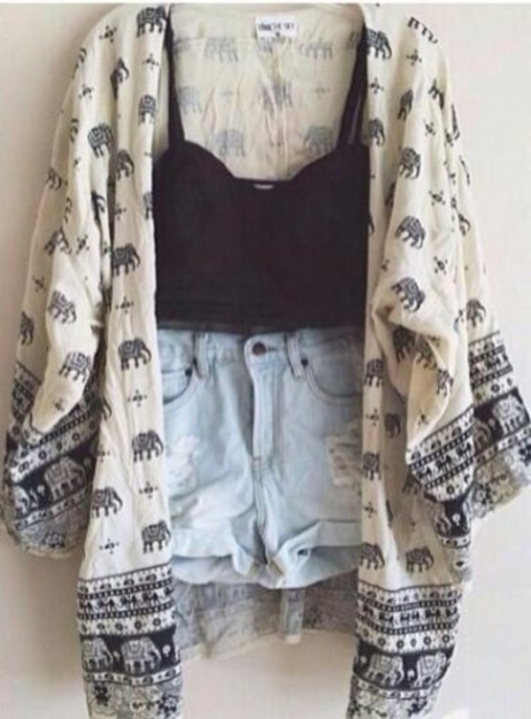 shorts High waisted shorts elephant sweater crop tank jacket tank top cardigan clothes clothes kimono caridigan elephant