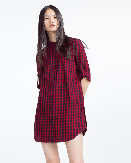 Checked organic cotton shirt dress dresses trf zara for Zara black t shirt dress