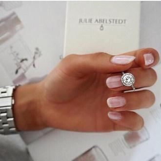 jewels diamonds diamond ring nails nail art nails art pink pink nails rings watch