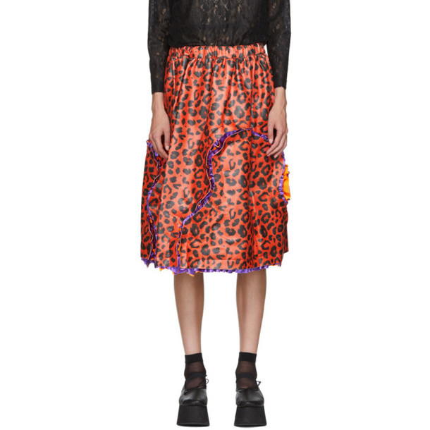 Comme des Garçons Red Animal Print Faux-Leather Skirt