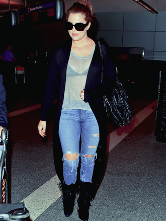 boots givenchy glasses dq21  cardigan khloe kardashian fall outfits jeans ripped jeans boots blouse