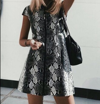 dress beautiful girly snake print a line dress cute cute dress black dress