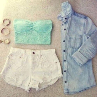 jacket crop tops bralette shorts denim jacket denim cute outfits tank top