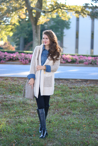 southern curls and pearls blogger cardigan bag jewels make-up denim shirt earrings