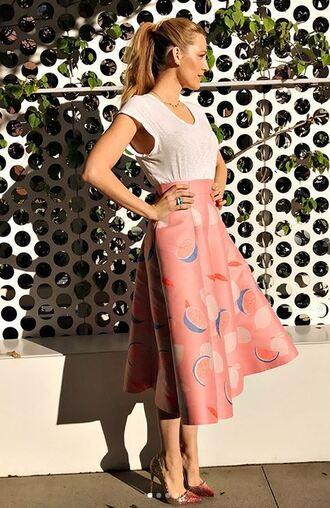 top skirt midi skirt pumps blake lively instagram