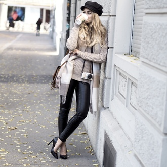 the vogue word blogger sweater scarf bag pants shoes hat beige sweater leather pants high heel pumps pumps black leather pants