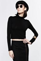 shirt,black top,top,crop tops,long sleeves,cropped turtleneck,black turtleneck,chic