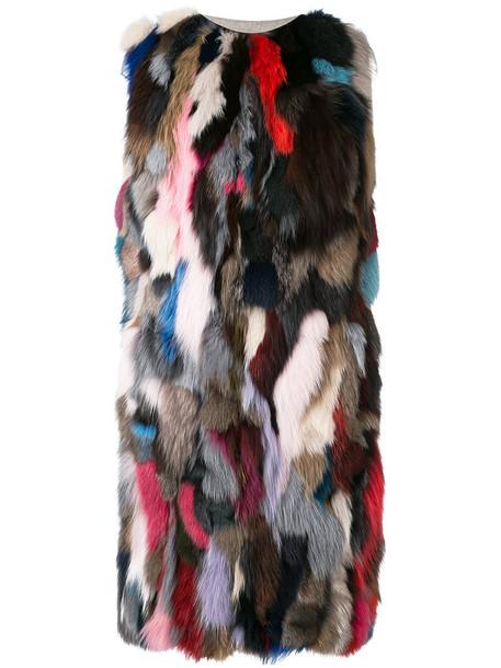 Liska coat sleeveless coat sleeveless fur fox women