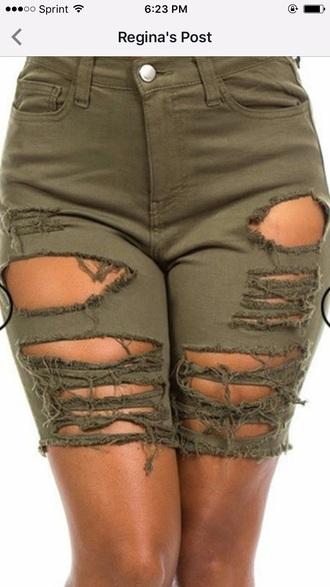 shorts cropped pants ripped shorts khaki