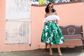 ktr style,blogger,top,skirt,shoes,crop tops,off the shoulder top,spring outfits,sandals,high heel sandals