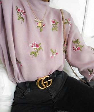 sweater pullover roses lilac tumblr