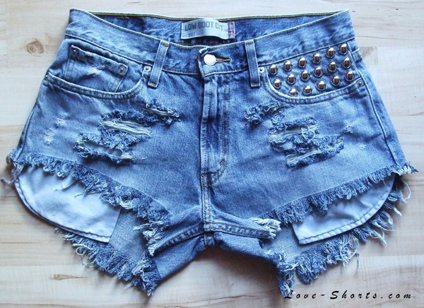 Shorts: denim shorts, studded shorts, jeans