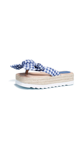 bow gingham white blue shoes