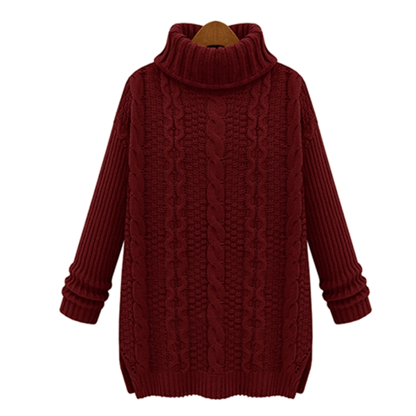 Western Thicken High Collar Long Sleeve Sweater