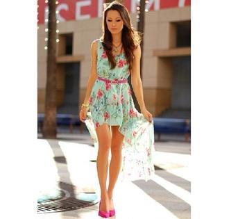 cute high low pink flowers high low dress mint dress flower print dress