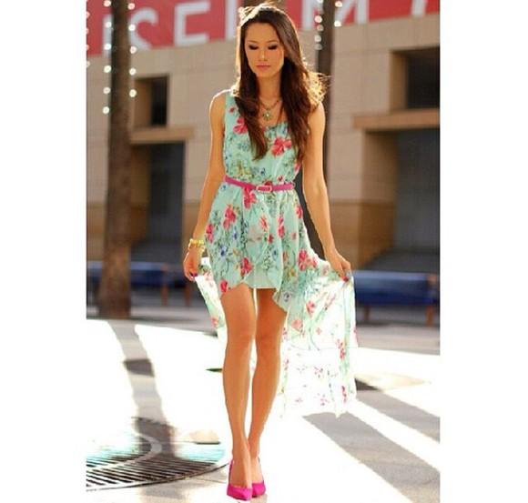 cute pink flowers high low high low dresses mint dress flower print dress