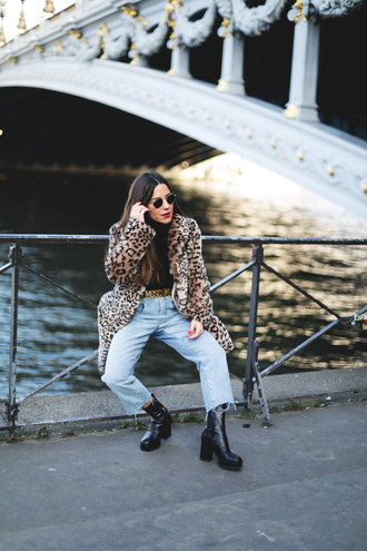 mypeeptoes blogger sweater jeans shoes belt coat bag fur fur coat animal print winter outfits moschino belt
