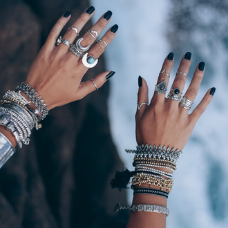 jewels boho rings ring bohemian hippie jewelry gemstone ocean boho chic boho ring gypsy shop dixi festival coachella style knuckle ring labradorite onyx crescent moon ring moon ring grunge gemstone ring