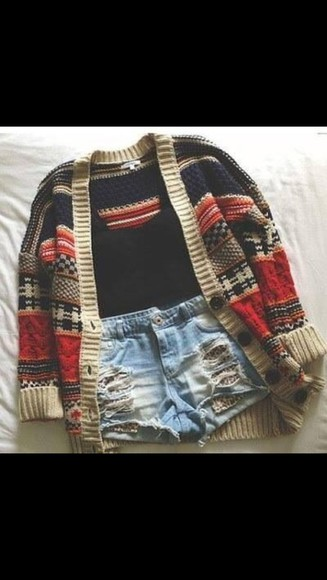 cardigan oversized big coulourful wooly jacket shorts shirt red wool coat