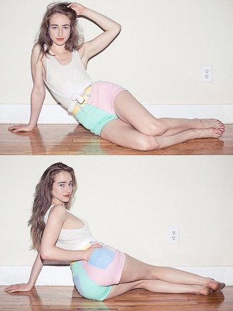 colorful shorts pink blue yellow purple pastel