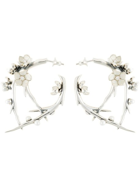 SHAUN LEANE cherry women earrings silver grey metallic jewels