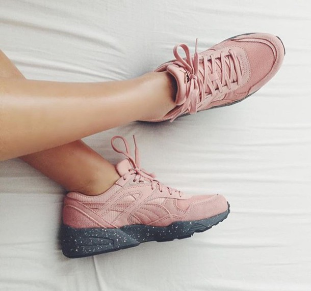 puma pink shoes. shoes puma sneakers suede pink grey fashion sports low top all h