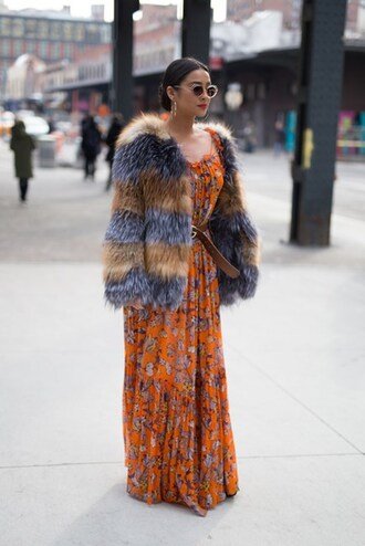dress nyfw 2017 fashion week 2017 fashion week streetstyle shay mitchell celebrity style celebrity floral maxi dress maxi dress floral floral dress orange orange dress jacket printed fur jacket fur jacket faux fur jacket sunglasses earrings