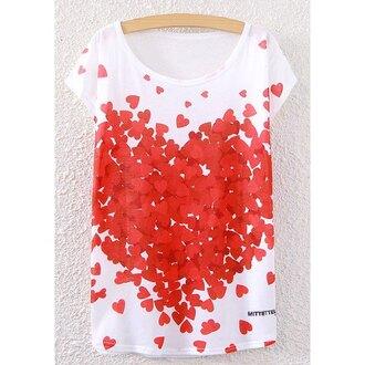 t-shirt red heart white love cute teenagers trendsgal.com
