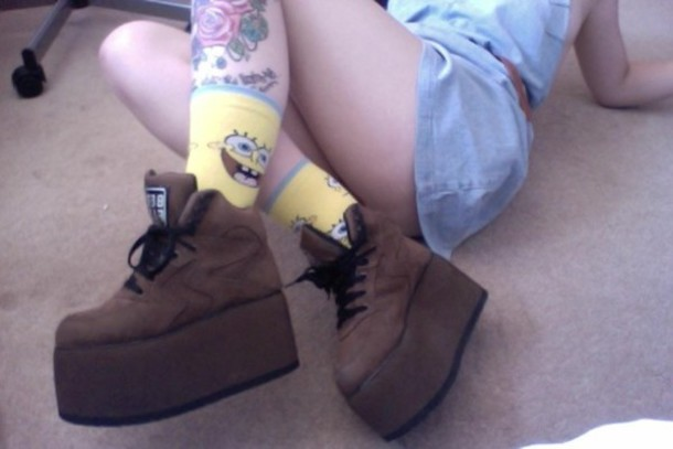 underwear, spongebob, socks, platform