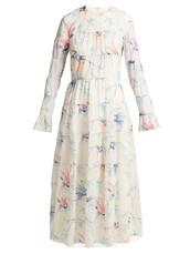 dress,maxi dress,maxi,chiffon,white,print